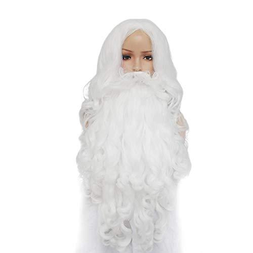 GKGKLA Lange Lockige Weiße Weihnachtsmann-Hochtemperaturfaser-Schnurrbart-Lange Synthetische Cosplay Perücke Für Weihnachtskostüm Mit Bart 24Inches -