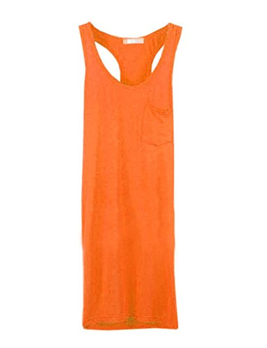 Legou Damen Lang Tank Top Trägershirt Trägerhemd Orange