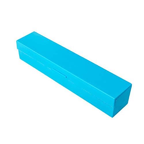 Plástico Transparente cortador de plástico papel de aluminio papel film cortador cuadro titular de corte herramienta de la cocina (azul) 1 PCS