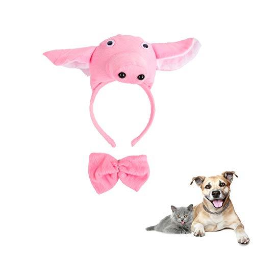Kostüm Dackel Schwein - Morbuy Reizende Katzenkostüm Hunde Haustier Kleidung Stirnband Kostüme, Halloween Xmas HundeKostüm Hundebekleidung Kostüme Kleidung Katze lustiges Kleid Cosplay (Schwein)