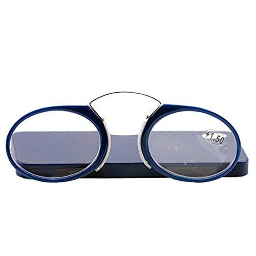 Naso occhiali da lettura senza astine stick ovunque, ultra leggero portatileemergenza portafoglio lettore con caso andare ovunque