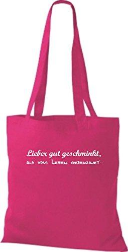 Shirtstown Stoffbeutel lustige Sprüche lieber gut geschminkt als vom Leben gezeichnet viele Farben pink