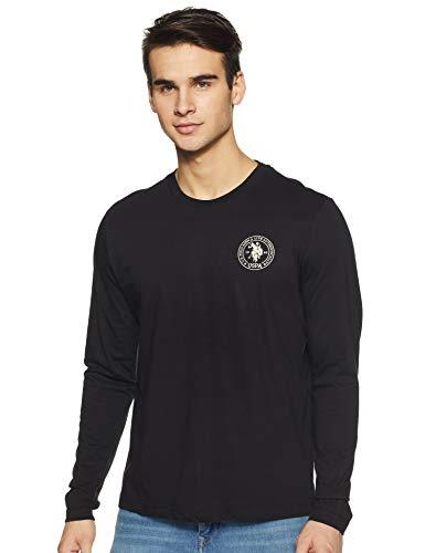 US Polo Assn Men's Plain Regular Fit T-Shirt 8907797194733 (I656-002-PL-S_Black_Black_38)