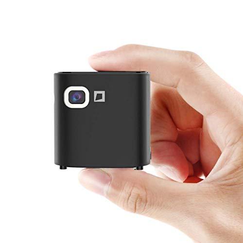 Mankvis Mini tragbarer intelligenter Projektor Micro Handy Projektor nach Hause Micro-kleine WiFi Wand 1080P HD drahtlose Apple Smart Projektor Laser 4K kein Bildschirm TV Heimkino,Black - Laser-projektor 1080p