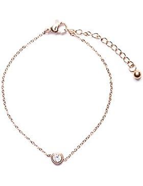 Happiness Boutique Damen Armband mit Strassstein Anhänger in Rosegold | Elegante Titan Armkette nickelfrei