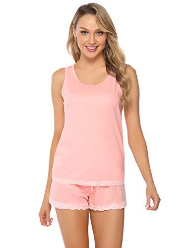 Hawiton Damen Kurz Pyjama Schlafanzug Baumwolle Sommer Nachtwäsche Hausanzug mit Spitze Tanktop Shorts Rosa S (Damen-pyjama)