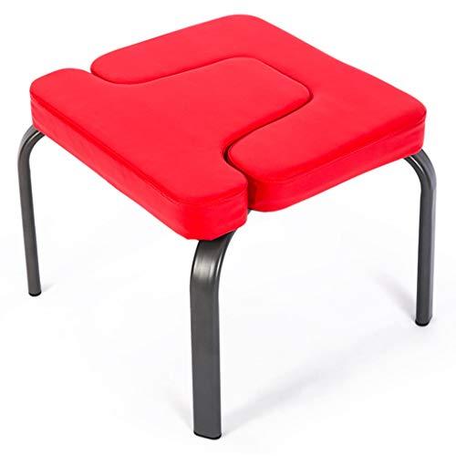 DWW Sede Rivestita in Pelle da Headstand Yoga Rivestita, Sedia da Yoga in Acciaio Inossidabile Sedia da Palestra per casa, Sgabello da Palestra Portatile, capacità da 440 lbs, Rossa (Colore : Rosso)