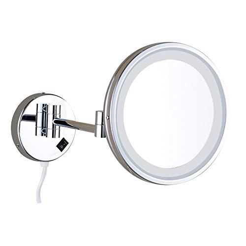 Hzjm LED Maquillar Espejo de Pared 10x Aumento Cosmética Espejo para baño sin o con perforar Plegable...