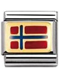Nomination Composable Classic FLAGGE EUROPA Edelstahl, Email und 18K-Gold (NORWEGEN) 030234