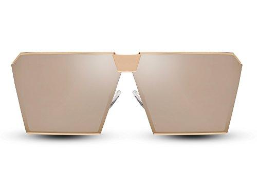 Cheapass Sonnenbrille Damen Gold Verspiegelt UV400 Groß XXL Designer-Brille Damen
