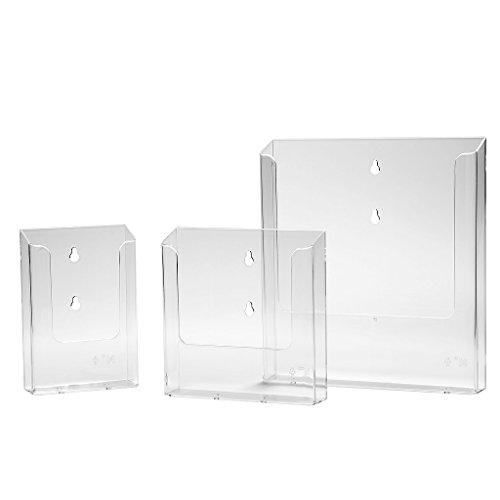 Prospekthalter Wand DIN A6 / DIN Lang Prospektbox Flyerhalter - glasklar im 5er Pack
