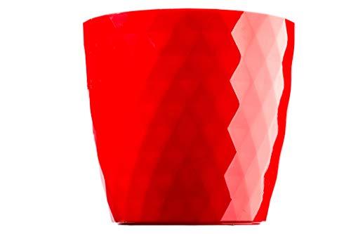 KADAX Blumentopf, EIN Topf für Blumen und Pflanzen mit Untersetzer, Pflanzkübel leichtes und beständiges Material EIN dekorativer Topf für Pflanzen (20cm, Rot) (Kunststoff-töpfe Für Pflanzen)