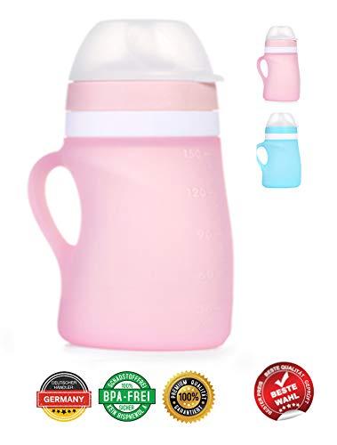 BOBBOLA Dein Quetschie 150ml PINK, Quetschbeutel wiederverwendbar, BPA-frei, Quetschies wiederbefüllbar Spülmaschine für Brei, Fruchtmus, Smoothies, Joghurt, Quetschies wiederverwendbar Silikon