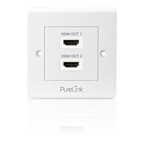 PureInstall PI105 High Speed HDMI Anschluߟdose mit Ethernet Kanal (HDMI A Buchse auf HDMI A Buchse), zertifiziert, 2-fach, Kabelpeitsche, 0,1m Video A/v Wall Plate