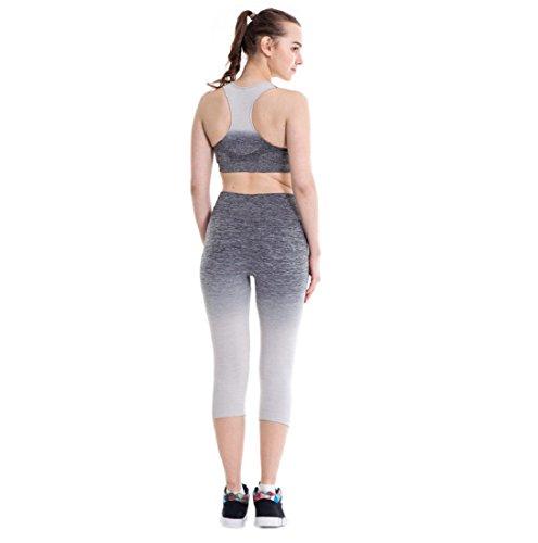Pantalon de sport Ularmo Femmes taille haute Fitness Yoga Sport Pantalon extensible Cropped Leggings Gris