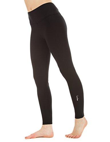 Winshape Damen Trainingshose Fitness Freizeit Sport Yoga Long Slim Tights Leggings, Schwarz, M, WTL1 (Silhouetten-yoga-hosen)