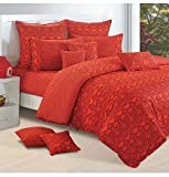 #5: Swayam Shades of Paradise Printed Cotton Double Duvet Cover - Orange (TSR02-2522)