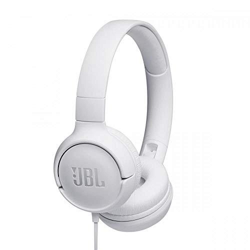 JBL Tune500 - Casque supra-auriculaire avec fil - Léger et pliable - Écouteurs confortables - Avec commande mains libres - Microphone intégré - Blanc