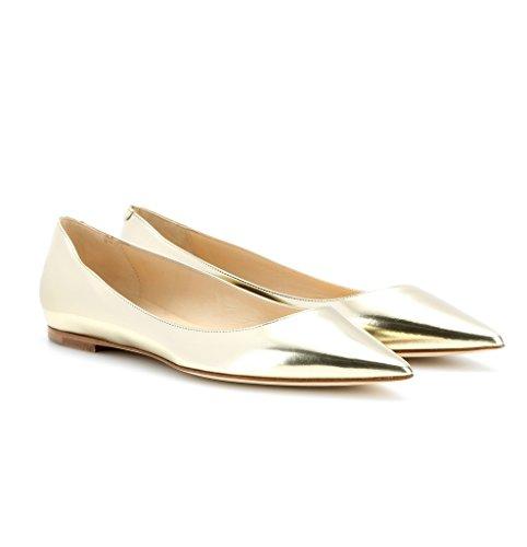 EDEFS - Ballerines Femme - Bout Pointu Chaussures - Confort Plat Femmes - Gold ou Noir ou Beige gold