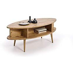 HOGAR24 ES Table Basse Design Vintage Ovale avec étagères, Finition Bois Naturel ciré Dimensions (l x P x H) : 120 x 55 x 49 cm.