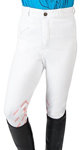 PFIFF 102456 Kinder-Reithose Piccola mit Motiv-Grip-Besatz (134, Weiß-Rosa)