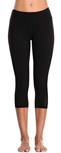 BeautyIn Damen Yogahosen Capri Leggings für Fitness Trainieren Laufen Yoga Knielang Hose Schwarz XL -