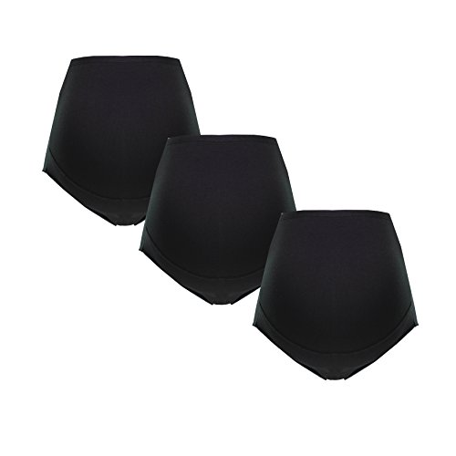 Herzmutter Umstandsslip-Schwangerschaftsslip-Überbauchslip für Damen, im Einzelpack-Dreierpack-Set, aus Baumwolle-Modal, Schwarz-Weiß-Beige (5100) (XL, 3X Schwarz)