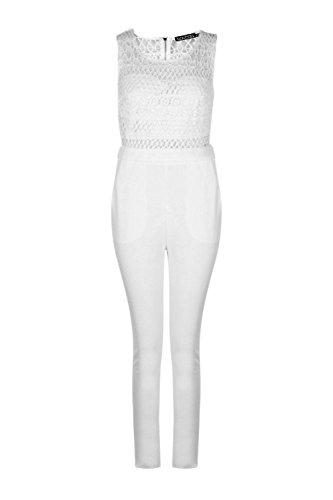 Blanc Femme Boutique Crochet Jumpsuit Blanc
