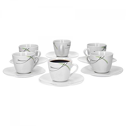 Ensemble de 6 tasses à café de 20 cl et soucoupe pour tasse à café donna 14,5 cm-porcelaine blanche avec décor noir ridules gris et vert