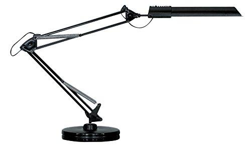 UNILUX 100340212 Energiespar-Tischleuchte Swingo Energiespar-Leuchte schwarz mit Tisch-Fuß Stand-Fuß A (Deckenfluter Moderne Ist Tischleuchte,)