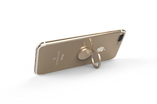 Kronya®   360° drehbarer Smartphone Fingerhalter   Auto Finger Fitness Griff Halter Halterung Handy Ring Ringhalter Sport Ständer Tablet Apple iPhone iPad 7 8 10 X Samsung Galaxy S8 4 (Gold) - 2