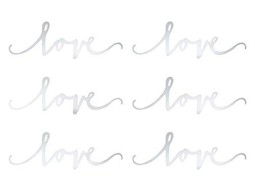Streudeko / Tischdeko Schriftzug LOVE aus festem Karton in Silber zur Hochzeit - Inhalt 6 Stück - 2