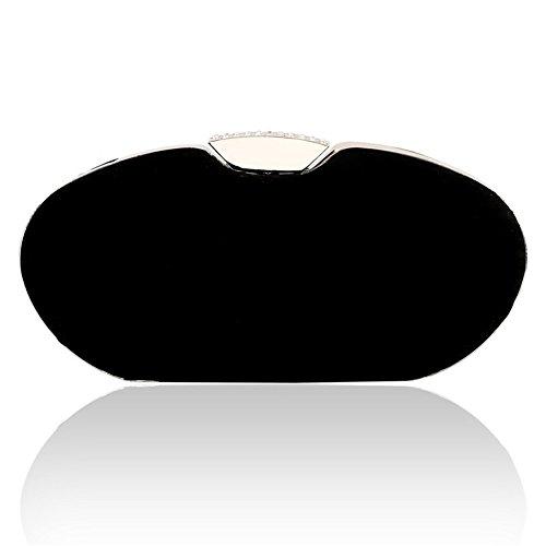 ERGEOB® Donna Clutch flanella Clutch Perle sacchetto di sera sacchetto di sera per Party Festa matrimonio nero