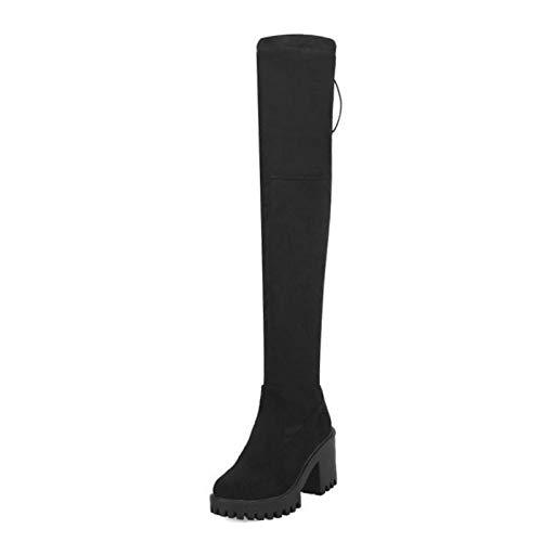 HAOLIEQUAN Women High Heels Boots Zipper Bowknot Over Knee Boots Platform Warm Winter Thigh High Shoes Women Footwear Size 33-43,Black,10