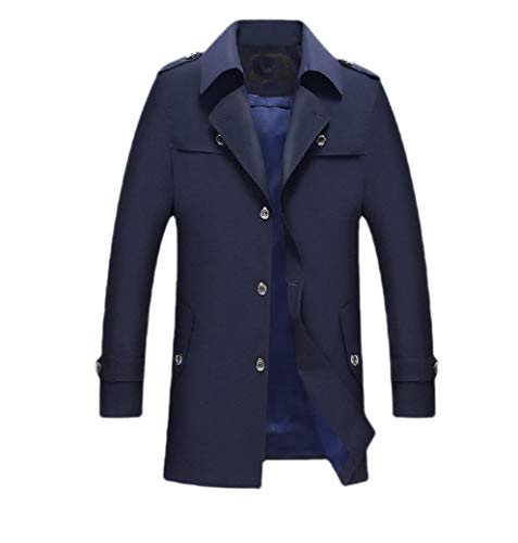 Navy Blue Trench Coat (CuteRose Men's Lapel Single Breasted Mid-Long Business Trench Coat Outwear Navy Blue S)