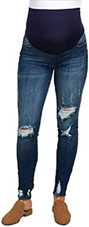 cheelot Women Ripped Hole Denim Plus Size Maternity Pants Pull-on Skinny Jeans