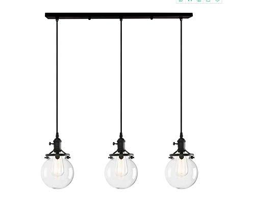 3 Balls Retro Design Clear Glass Indoor Pendant Lamp Hanging Light Vintage Industrial Loft Pendant Light Hanging Lamp Pendant Lights (Black - Light Switch Rotary