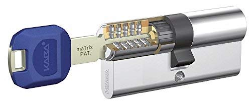 Kaba Cylindre Haute sécurité + Renfort Matrix 35 X 35 en Nickel 5 clés LK Double EMB + Lam, nickelé, 0