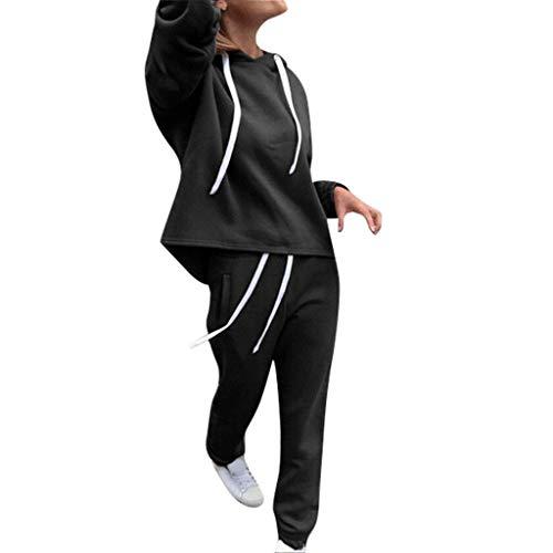 Bestyyo Damen Nabelpullover mit Kapuze Satz Frauen einfarbig Kapuzenpulli und Hose Trainingsanzug Sport Anzug 2 Teile Hülsen Wolljacke Wilder mit Kapuze Mantel (Schwarz, - Chinesisch Lieferung Mann Kostüm
