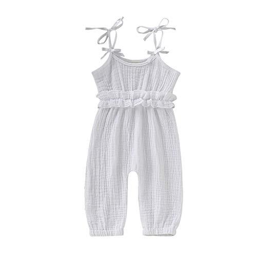 Allegorly Baby Mädchen Strampler Sommer Ärmellose Spielanzug Bogenknoten Bodys Einteiler Leinen Volltonfarbe Kleidung Overall 3-24 Monate (Baby Mädchen Kleidung Teal)