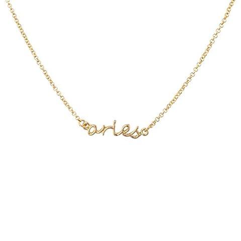 Lux Accessories Aries Ram Horoscope Zodiac Word Pendant Necklace