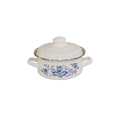 Axentia Onion Series Hob to Oven Casserole Dish - Ornate Style Enamel Dutch Oven Great with Pour Spout for Induction Hobs - Casserole Dish, White 1.6L