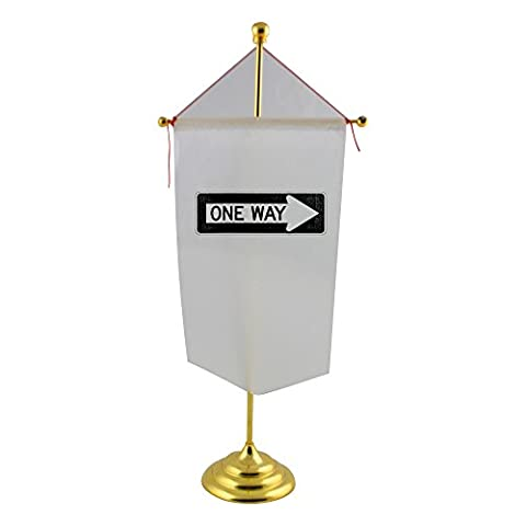 Table flag with One Way Right traffic sign, horizontal