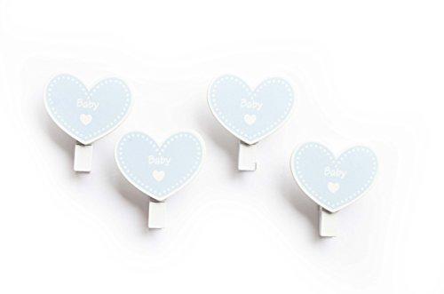oy - Wäscheklammer - Baby-Dusche - 4 Stück Holz Dekoration - (Größe 4 x 3,5 cm) - ideal zum Dekorieren. ()