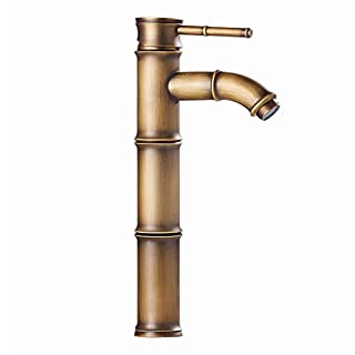 LIXSLT Badezimmer-Hahn, europäischer Retro- Art-Kupfer-heißes und Kaltes einzelnes Loch-einzelner Handgriff-Waschbecken gebürstet