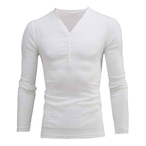 Herren Hemd Slim Fit Langarmshirt Freizeit V-Ausschnitt Langarmhemd Freizeit Business Anzug Party Hochzeit Shirt für Männer Slim Fit Grundlegende Shirt Druck Baumwolle Bluse Top (2XL, Weiß) (Für Nike Sport-uhren Männer)