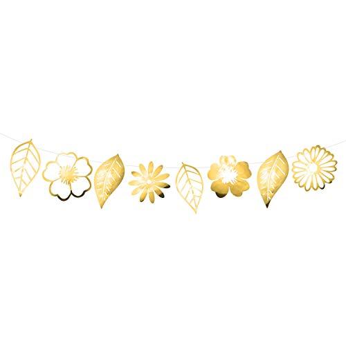 Oblique Unique® Blumen Girlande Banner Glänzend in Gold oder Silber als Hänge Deko für Hochzeit Geburtstag Party Feier - Farbe Wählbar (Gold)