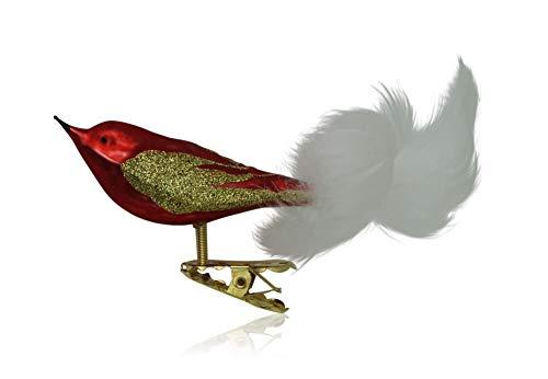 anz rot glanz/matt 3 Stück Christbaumschmuck Weihnachtsschmuck mundgeblasen,handdekoriert Lauschaer Glas das Original ()