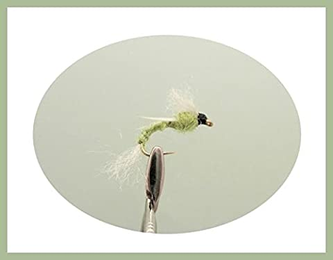 12 pack of Poly Ribbed Buzzer - Lime - Fishing Flies. Mixed sizes 10-16