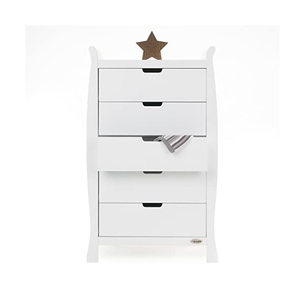 Obaby Stamford Sleigh Tall Chest of Drawers - White Obaby 5 drawers provide much needed storage space Smooth gliding runners provide easy opening and closing Co-ordinates with the rest of the obaby stamford furniture range 2